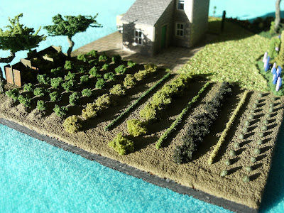 Close up of the N gauge garden vegetable plot