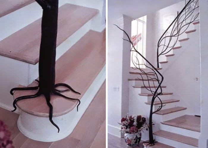 Staircase with a handrail