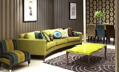 sala elegante sofá verde olivo