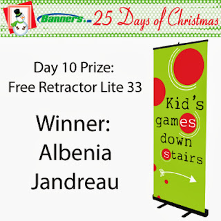 Banners.com 25 Days of Christmas Giveaway - Day 10 Winner