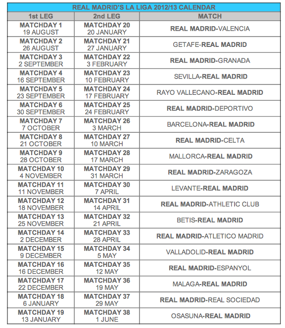Wallpaper Jadwal Pertandingan Real Madrid Liga Spanyol 2012-2013