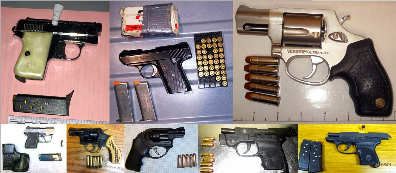 Firearms Discovered at (L-R / T-B) LAX, BWI, SAT, BUF, MCO, AEX, CAE