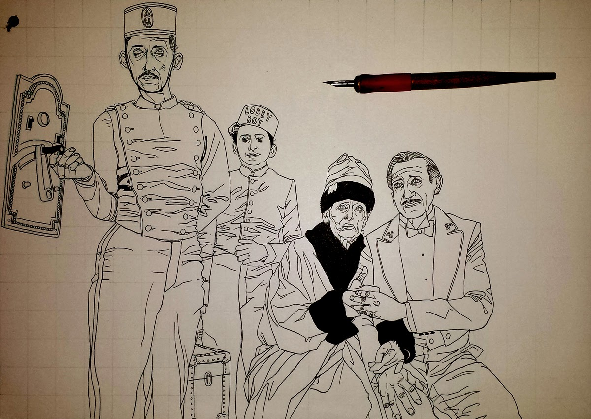 Wes Anderson rough illustration draft