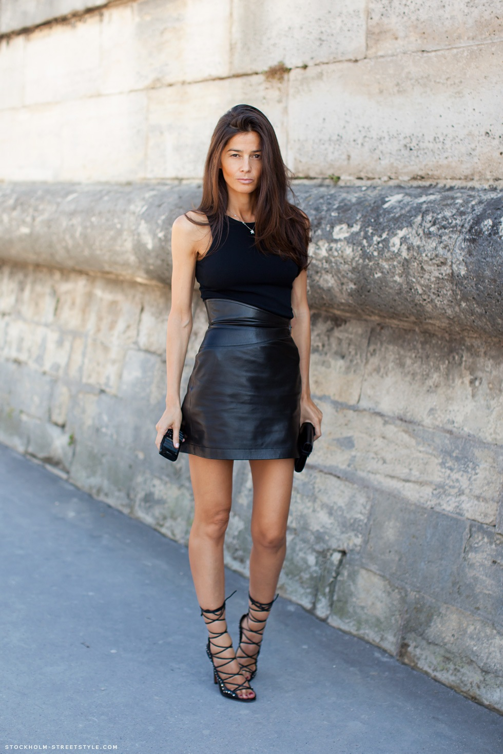 chouroute julie leather skirt