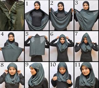 gambar cara memakai jilbab terbaru