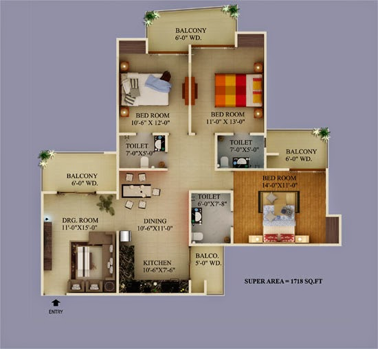 Ecovillage Noida Extension :: Floor Plans 3 BHK 1375 sqft
