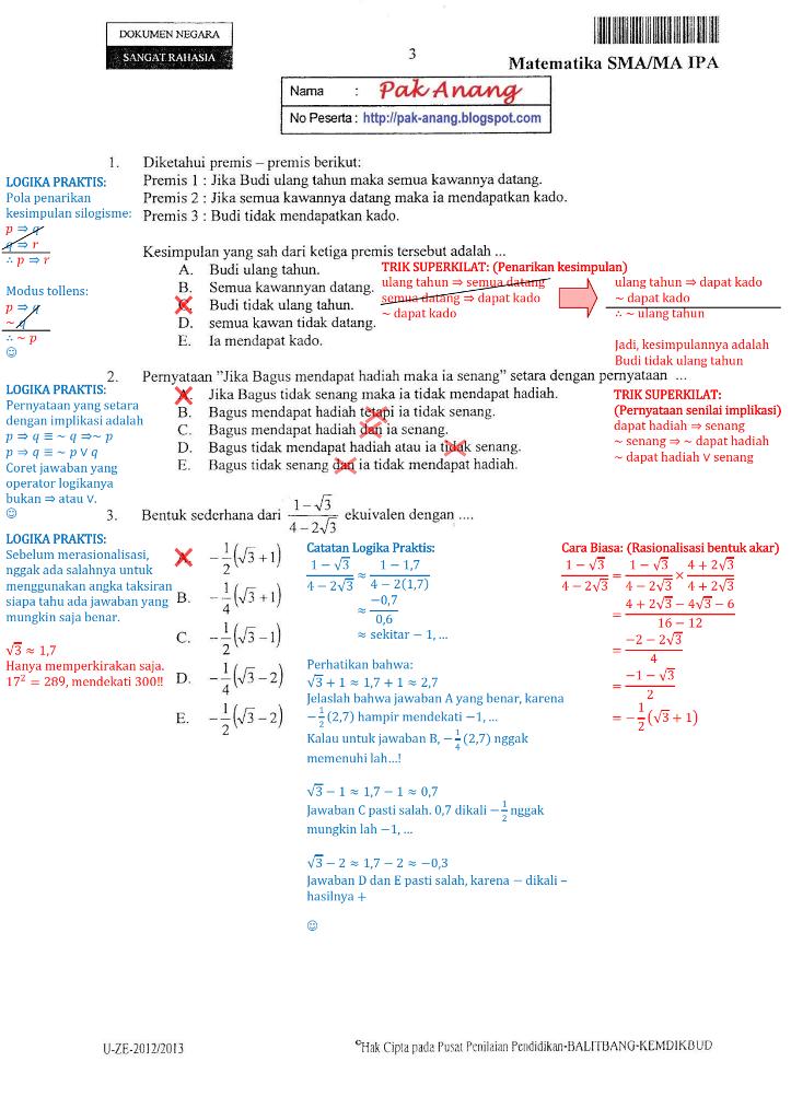 Berbagi Dan Belajar Contoh Pembahasan Soal Un Matematika Program Ipa Sma 2013 Menggunakan Trik