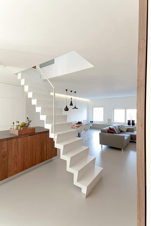 Arte y arquitectura escaleras blancas minimalistas - Escaleras para duplex ...