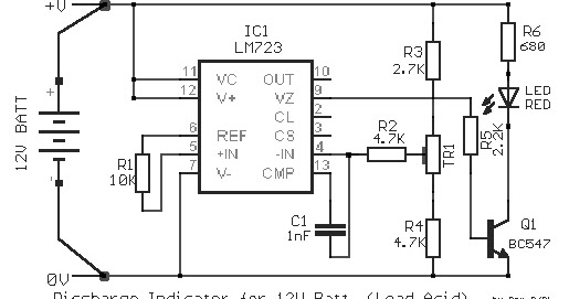 electronic project  12v lead acid battery discharge indicator