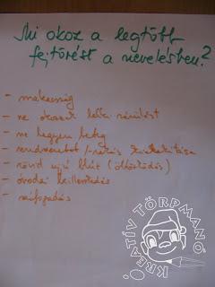Első kérdés: Mi okoz a legtöbb fejtörést a nevelésben? Alatta meg a válaszok: makacsság, ne okozzak lelki sérülést, ne legyen beteg, öltözködés, óvodai beilleszkedés, szófogadás, rendszeretet kialakítása.
