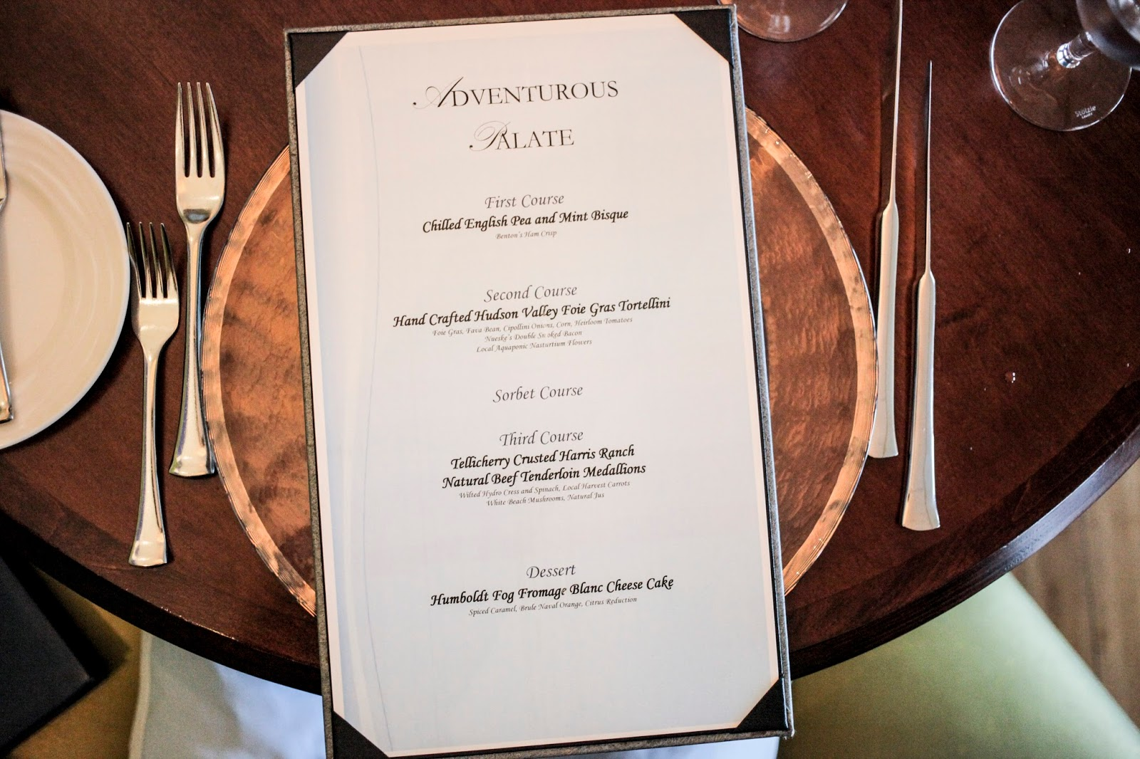 The Adventurous Palate menu example from Azurea at One Ocean Resort and Spa