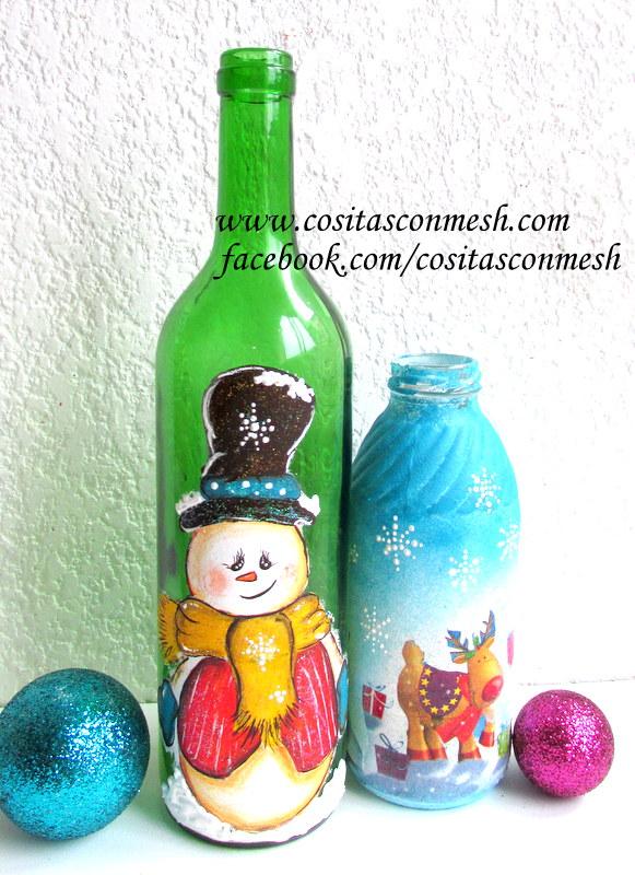 C mo decorar botellas con luces paso a paso cositasconmesh - Botellas decoradas navidenas ...