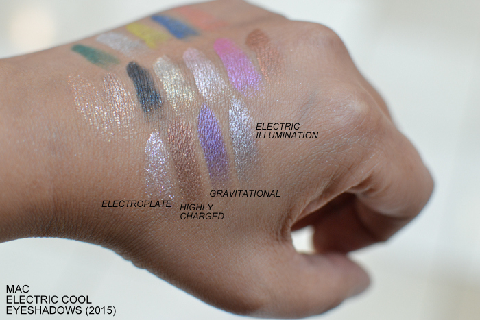 MAC Electric Cool Cream Eyeshadows 2015 Swatches Electroplate Highly Charged Gravitational Electric Illumination