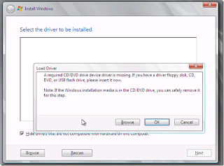 Install Windows 7 Gagal, A Required CD/DVD Drive Device Driver Is Missing