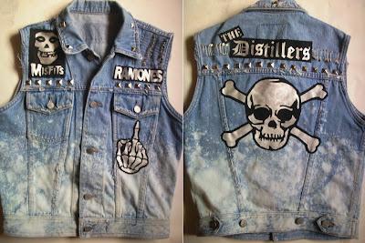 diy kamizelka ćwieki punk rock czaszka jeans