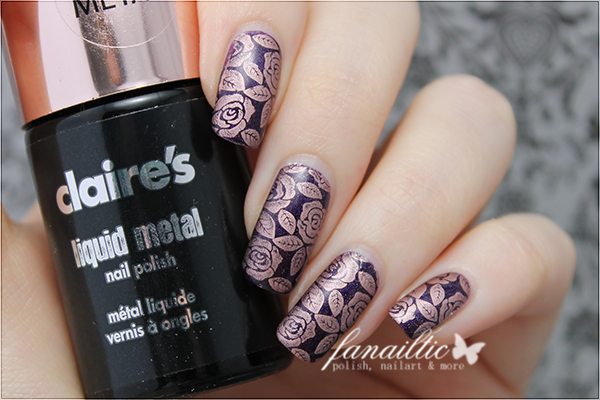 enchanted polish November 2014 + claire's rose gold + BP40 stamping
