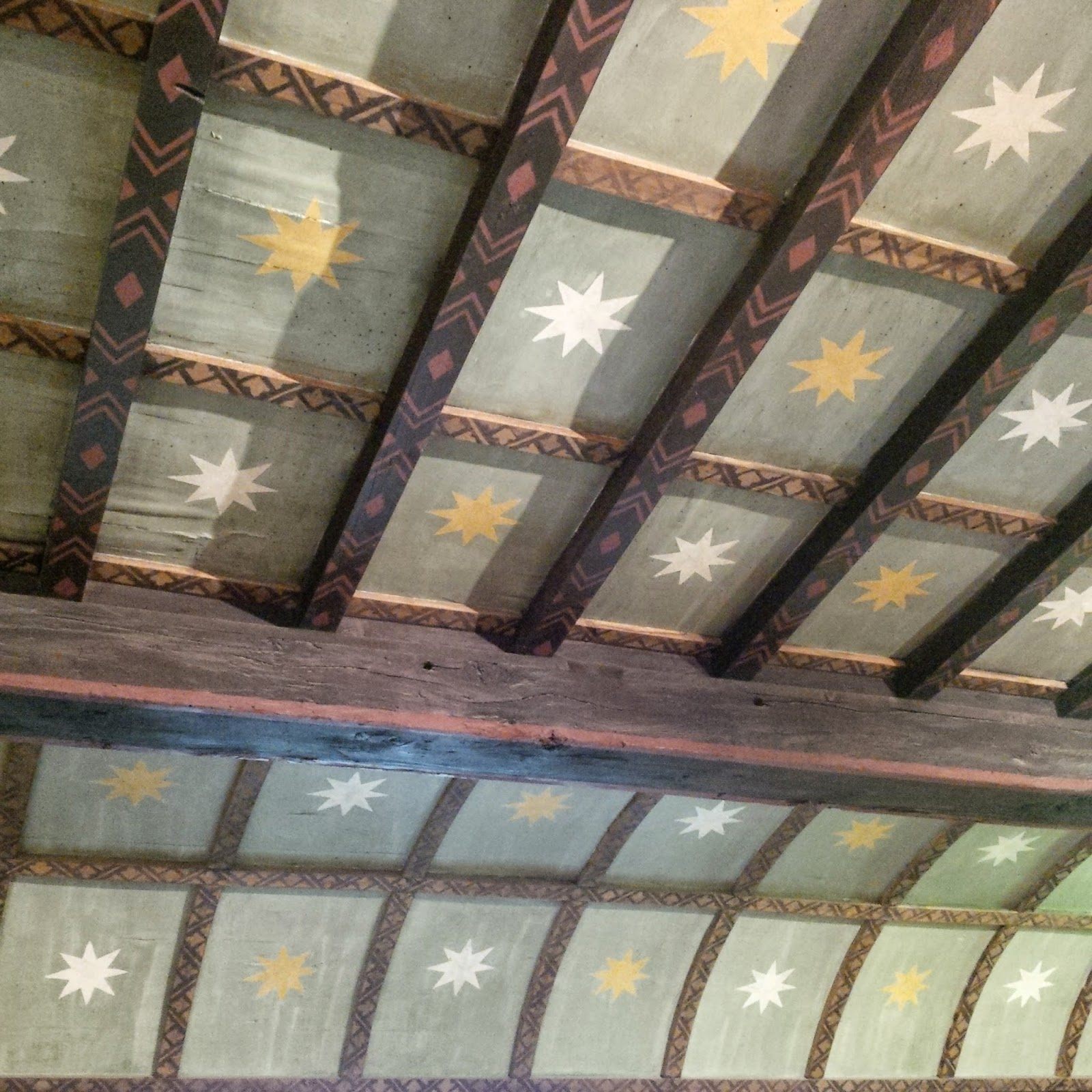 The painted ceiling in the attic rooms in Juliet's House in Verona