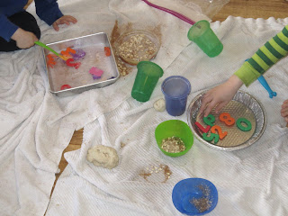 Let kids make a mess indoors. Free play is fun.
