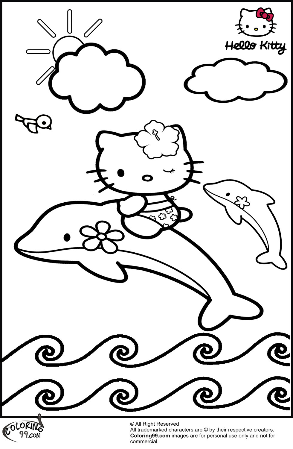 Coloring Pages Hello Kitty Dolphin : September team colors