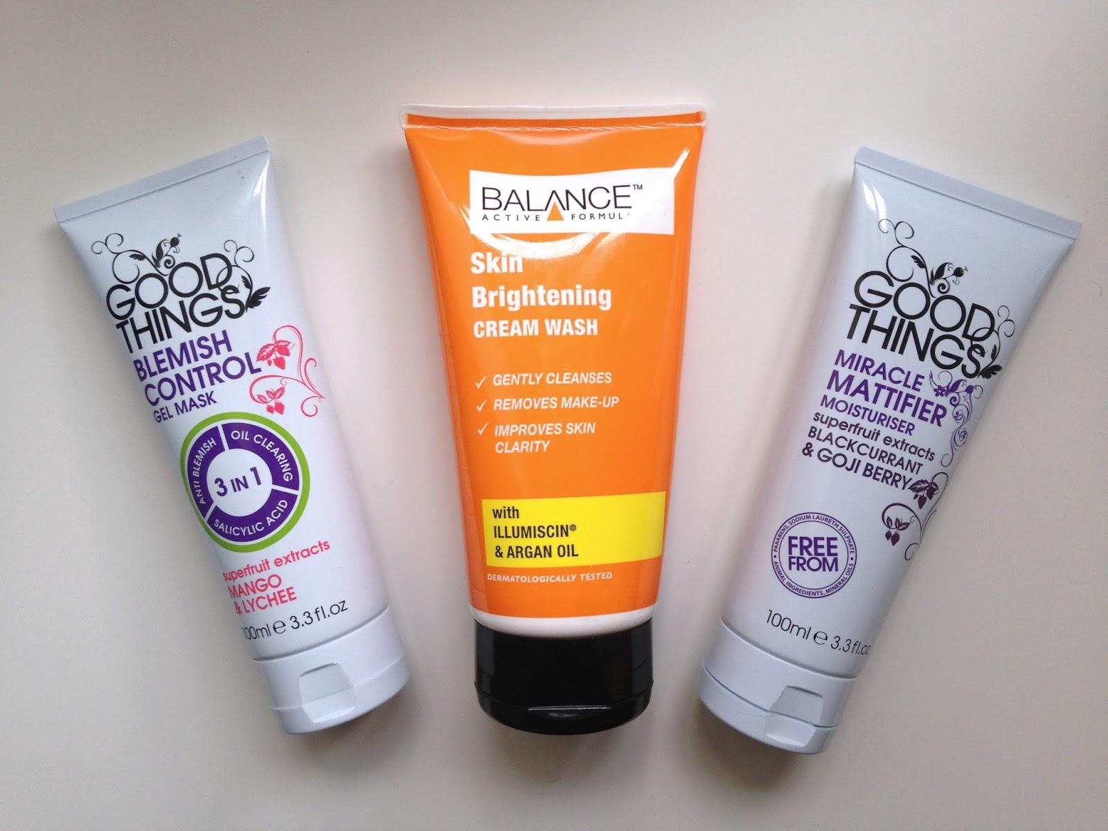 Good things Blemish Control Mask Good things Mattifying moisturiser Balance Active Skincare Brightening Face Wash