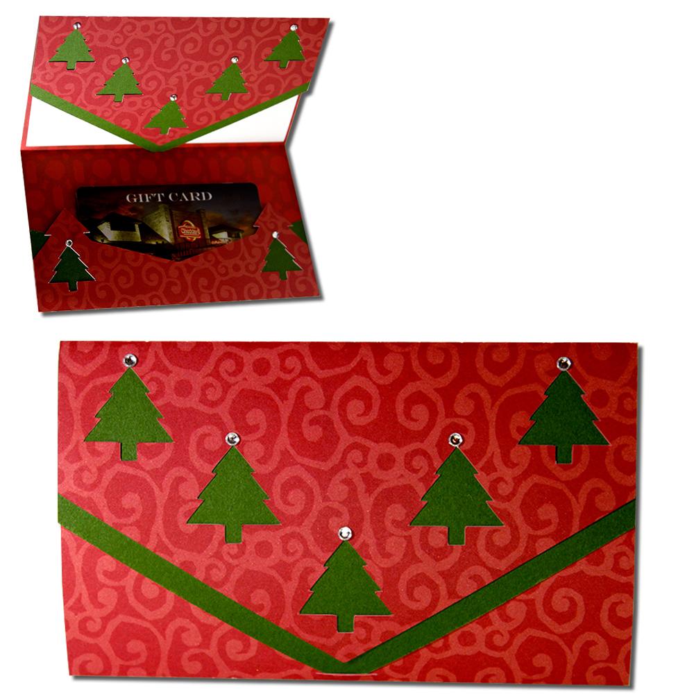 Jmrush Designs Christmas Tree Tri Fold Gift Card Holder