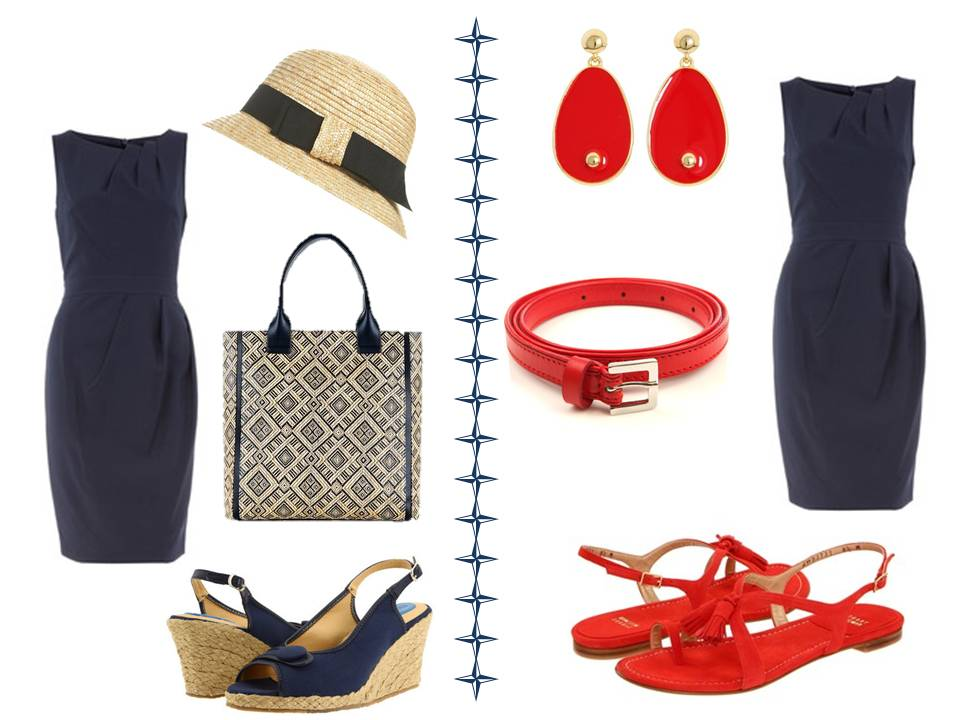 Black dress red shoes what color bag with navy