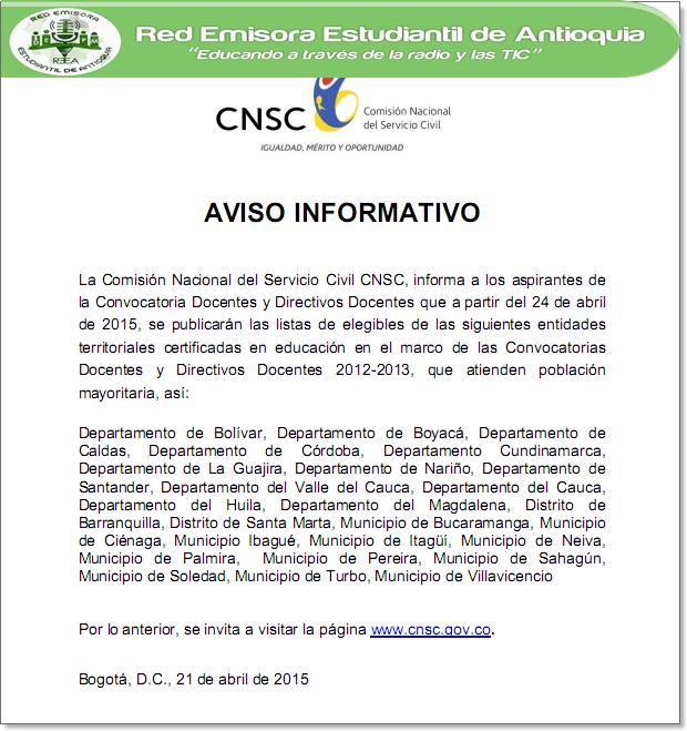 Concurso docentes avisos informativos cnsc for Concurso docentes