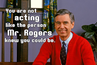 Mister Rogers, shaming, creepy smile, childhood icon