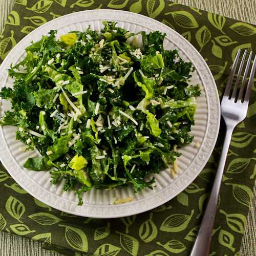 Kale and Romaine Caesar Salad (Low-Carb, Gluten-Free) found on KalynsKitchen.com