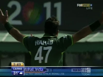 Wahab Riaz apealing for Wicket