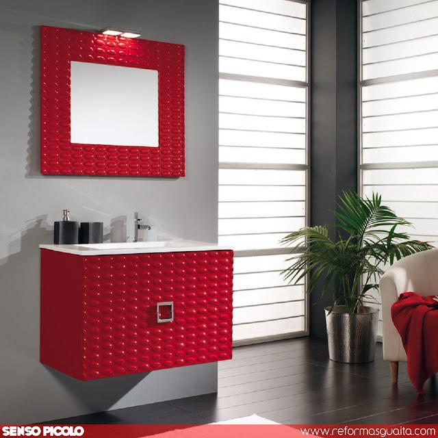mueble baño rojo laca alto brillo