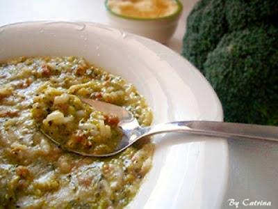 Minestra di riso,salsiccia e broccoli