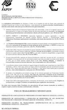 Carta de Fapuv al Presidente Chávez
