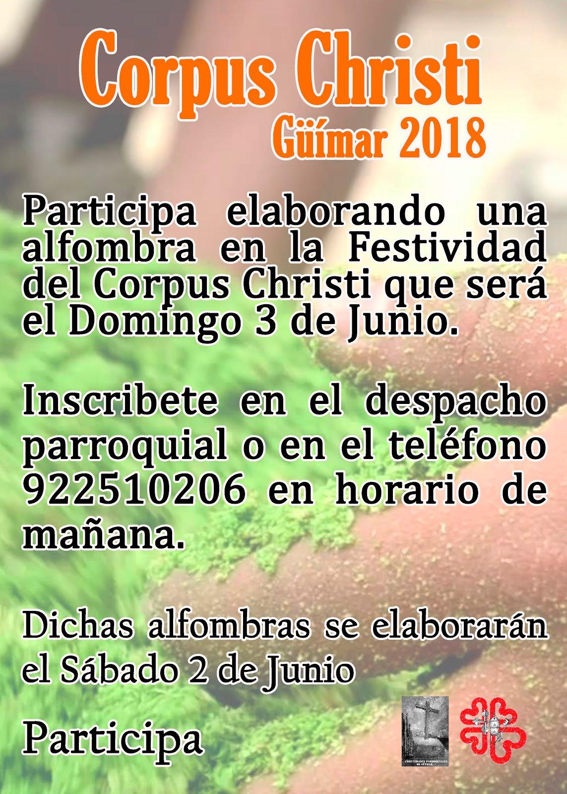 Participa en el Corpus Christi de Güímar elaborando una Alfombra