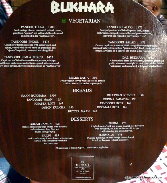 bukhara restaurant delhi price