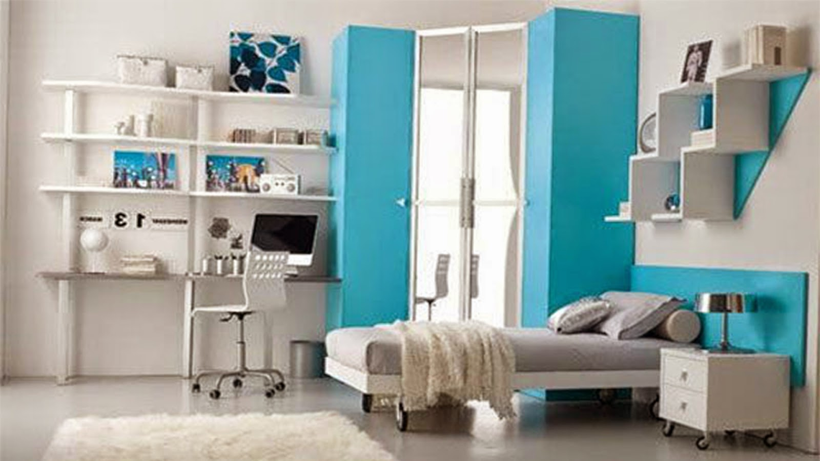 Nice Space Large Cool Teenage Girl Bedrooms With Modern White Bed Frame  Complete With Soft Gray Mattress Plus Cool Gray Color Pillow And Enticing  White Wood ...