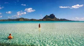 La hermosa playa de Bora Bora