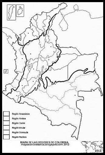 Mapa de las regiones de COLOMBIA, blanco y negro,