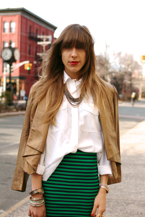StyleAndPepperBlog.com : : Concrete Catwalk // Striped Stretchy Skirt