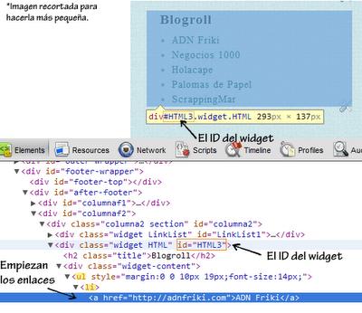 Inspeccionar ID del widget de lista de enlaces