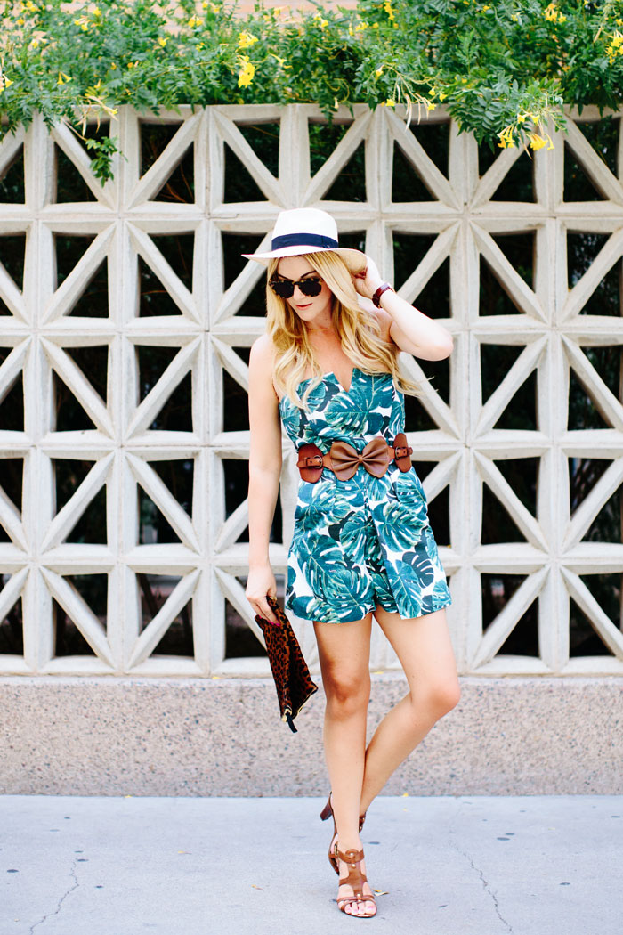 Topshop, Palm Print, Bandeau, Skort, Romper, Playsuit, Anthropologie, Bow, Belt, Franco Sarto, Cognac, Buckle, Stacked, Sandals, Illesteva, Tortoise, Round, Sunglasses, O'Niell, Panama, Hat, Daniel Wellington, Classic, Bristol, St. Andrews, Leather Strap, Watch, Summer, Palm Leaf, Outfit Inspiration, Street Style, Caitlin Lindquist, A Little Dash of Darling, Personal Style, Blog, Fashion Blog, Blogger, Lifestyle, Arizona, Scottsdale, Phoenix, Photographer, Kylee Patterson, Affordable Fashion