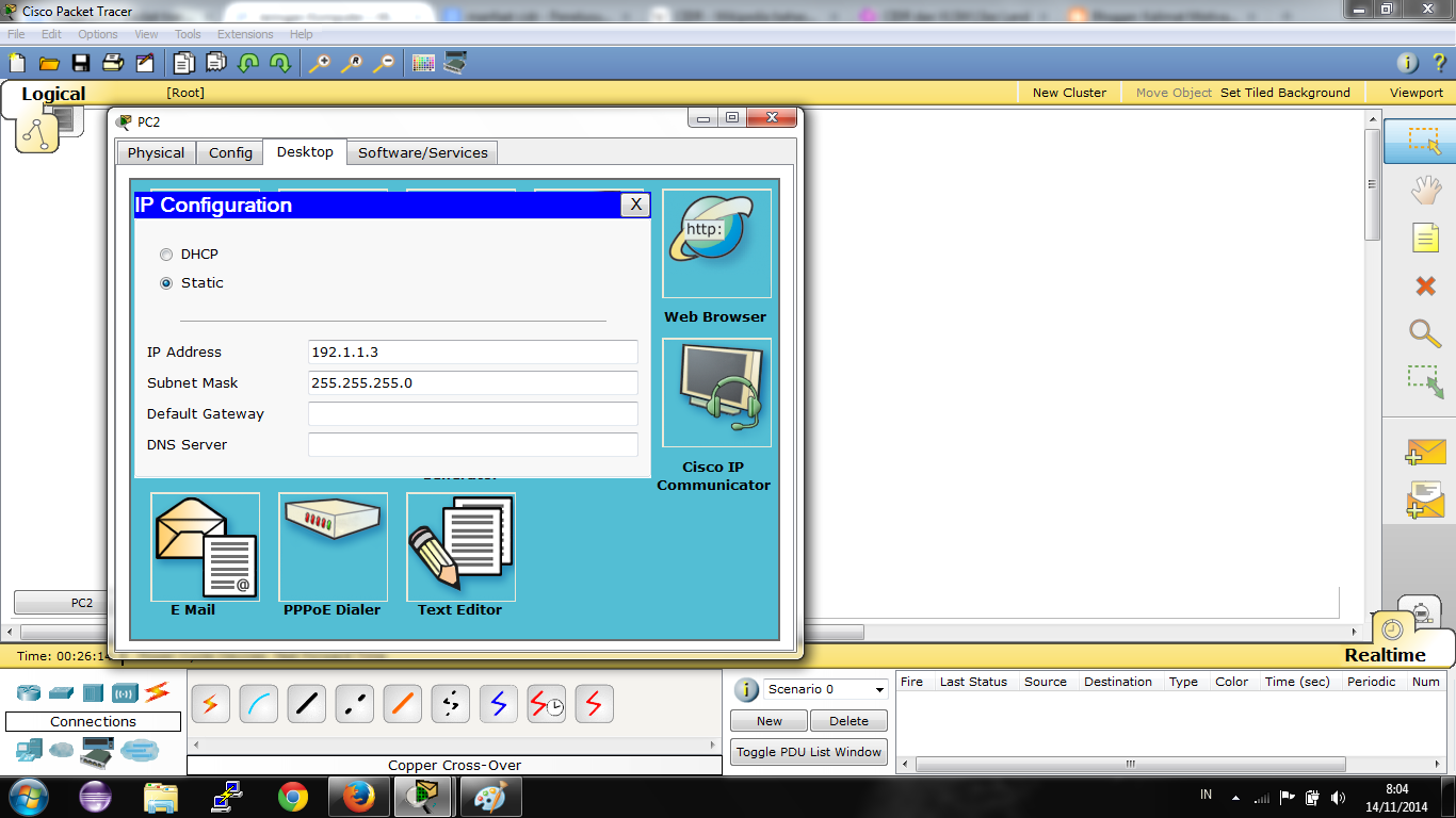 Konfigurasi IP Address PC 1
