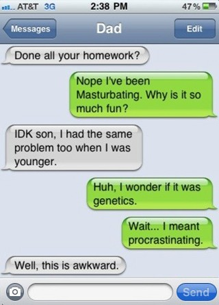 funny awkward iphone text message conversation father son Funny Text ...