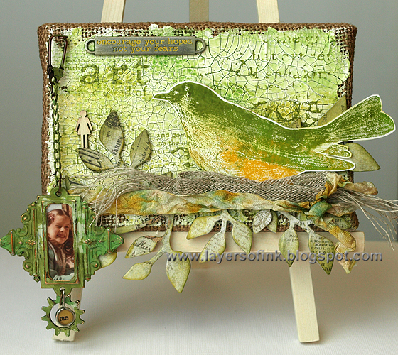 http://layersofink.blogspot.com/2014/04/spring-bird-burlap-panel.html