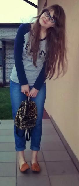 OOTD: Bluza Celine+plecak w panterkę :)