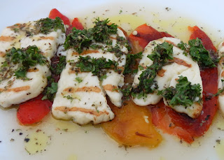 Roasted Peppers and Halloumi