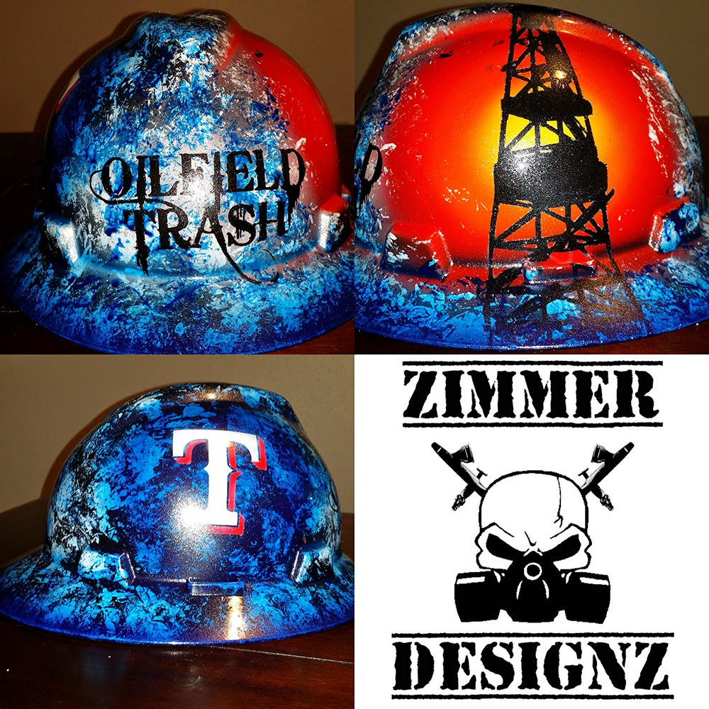 blue, white and red custom oilfield hard hat with Texas Rangers