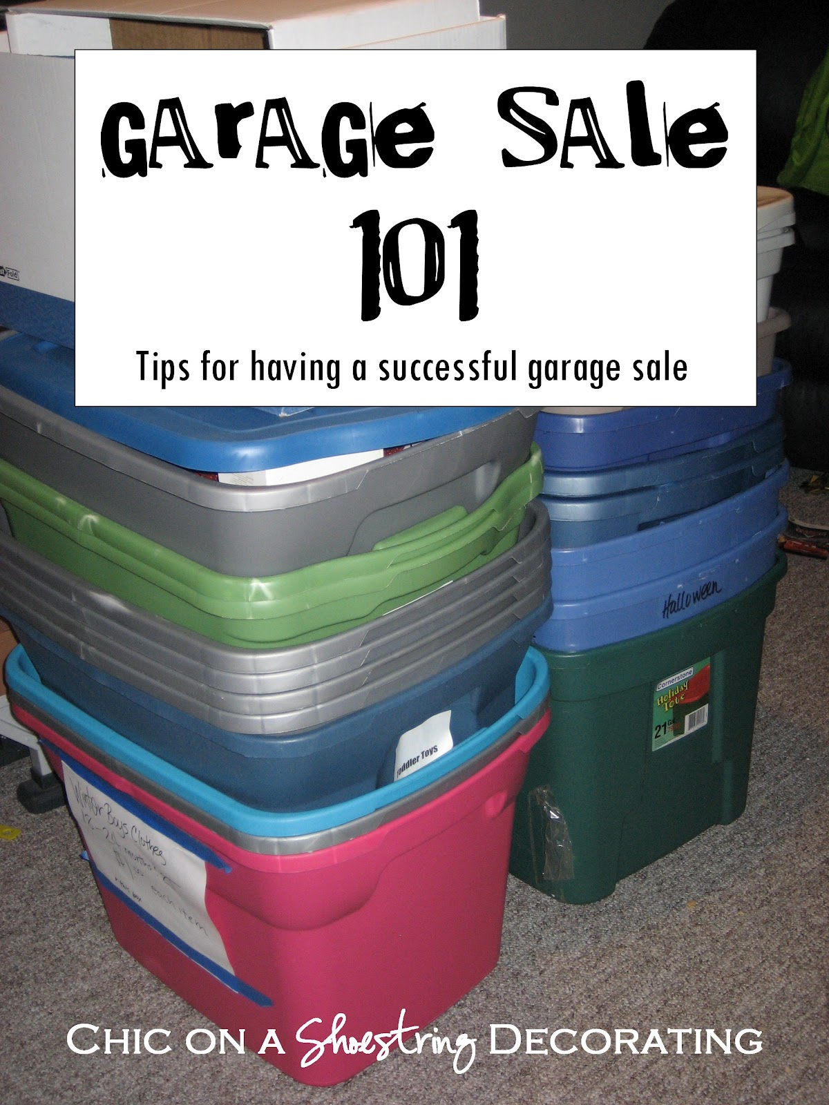 garage sale setup ideas - Chic on a Shoestring Decorating How to Have a Successful