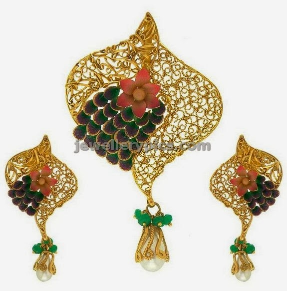 peacock design pendent earrings from prince jewellers
