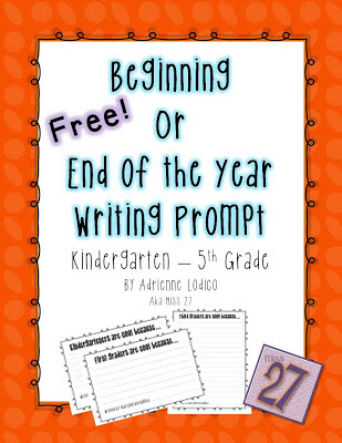 Miss 27 Beginning or End of the Year Writing Prompt